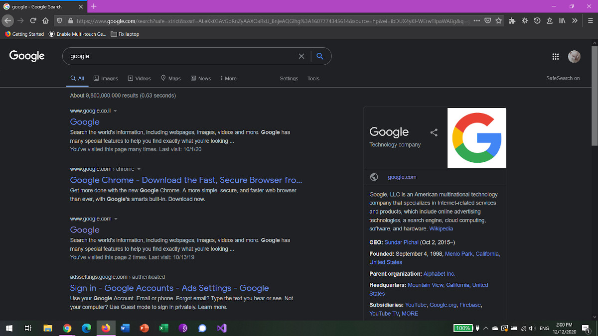 google search mode sombre firefox windows