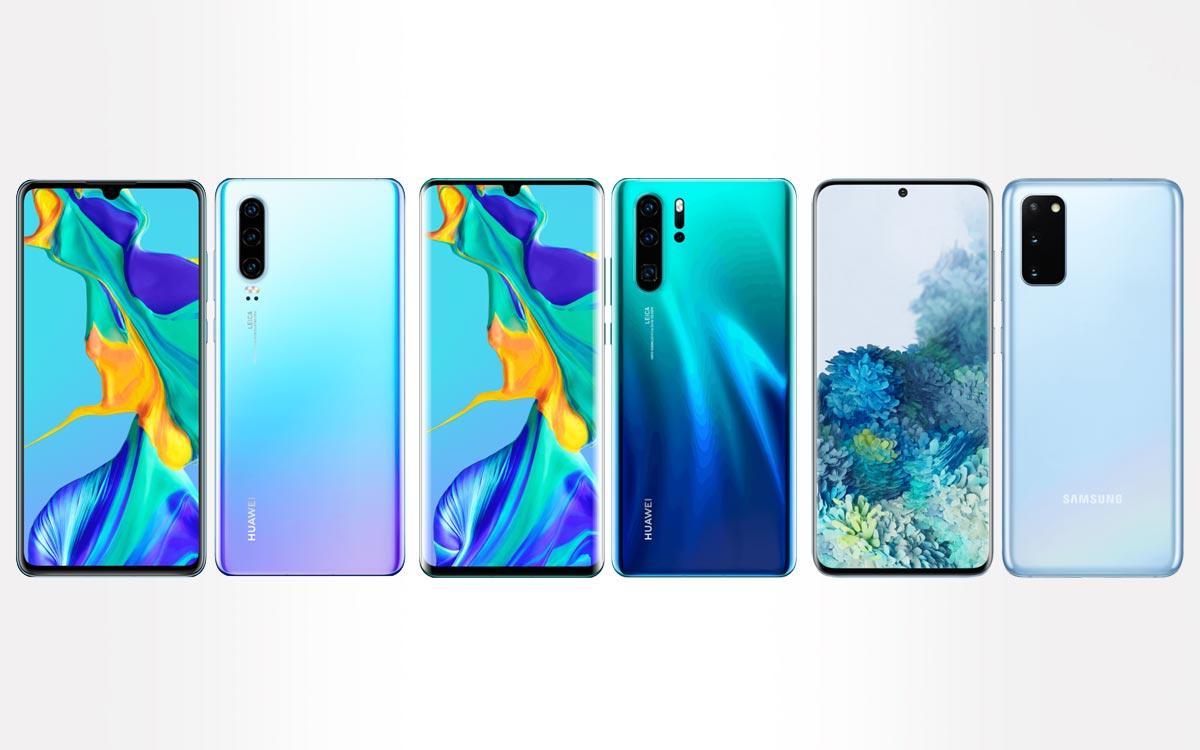 Huawei P30, P30 PRO et Galaxy 20