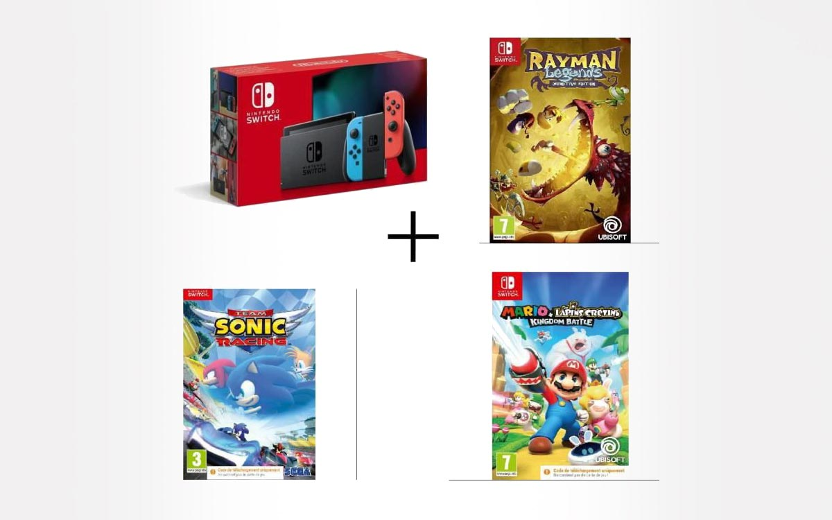 Pack Switch Sonic Racing + Rayman et Mario Lapins Crétins