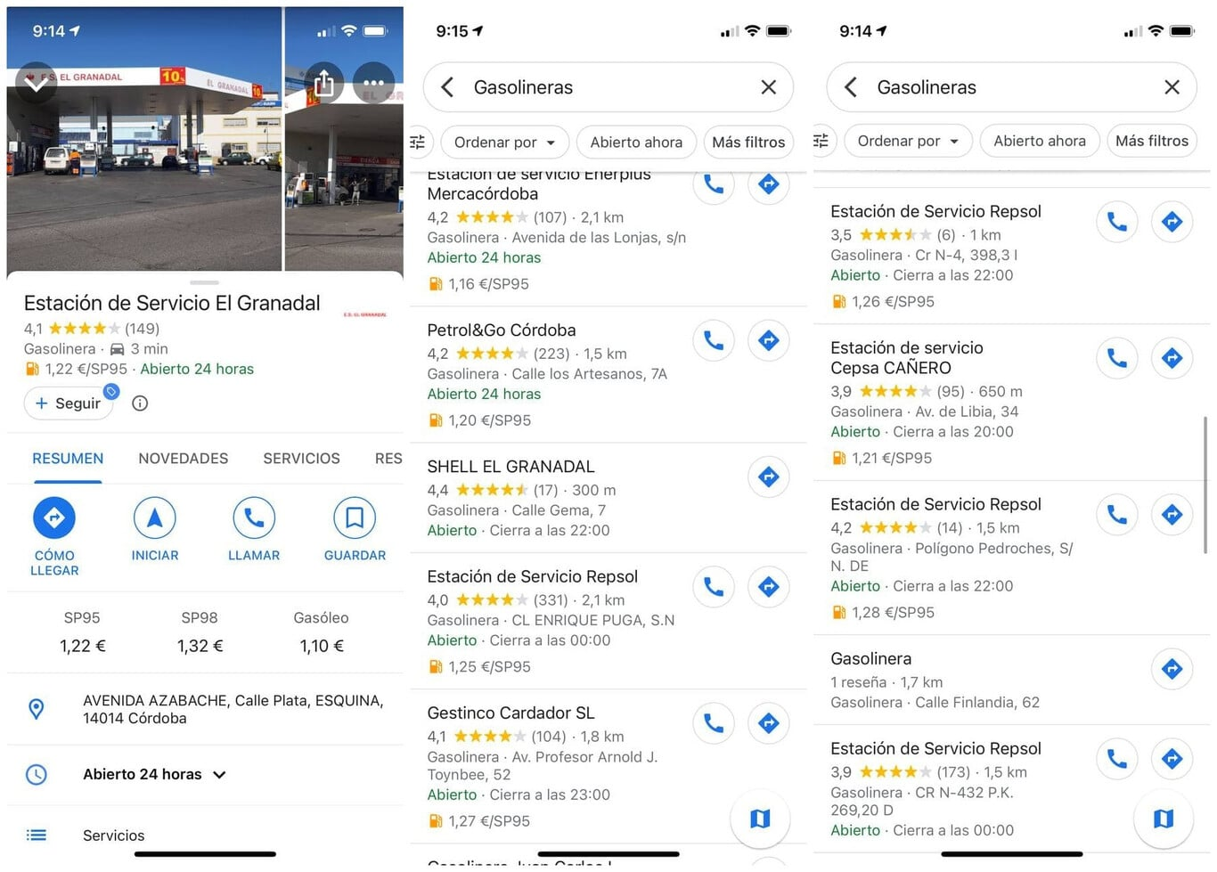 google maps prix essence europe