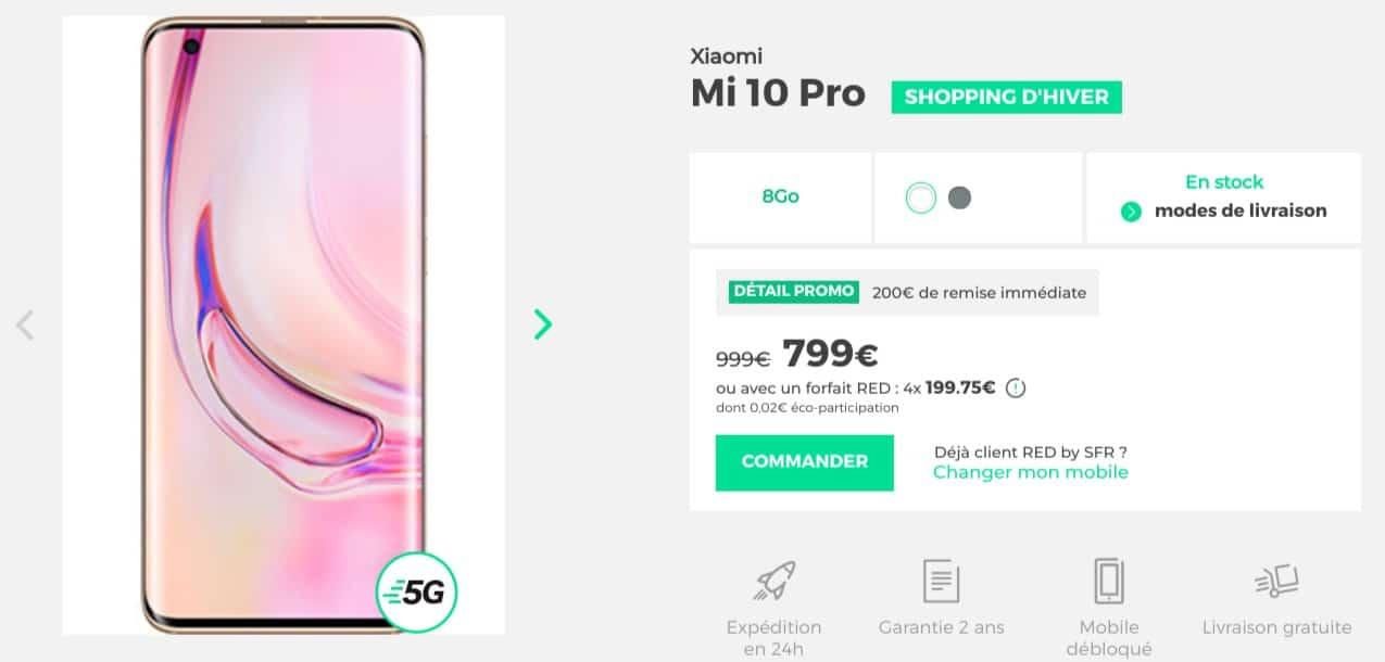 Xiaomi Mi 10 Pro blanc 8Go