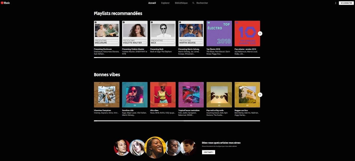 page accueil Youtube Music