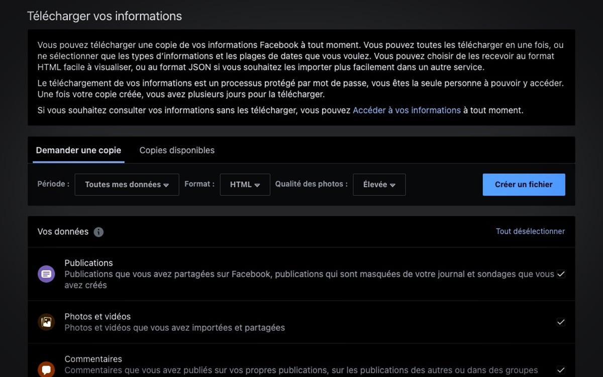 Télécharger données personnelles Facebook