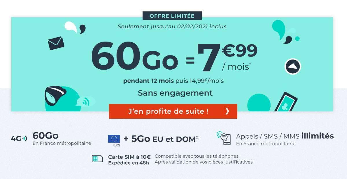 forfait mobile 60 Go pas cher Cdiscount Mobile