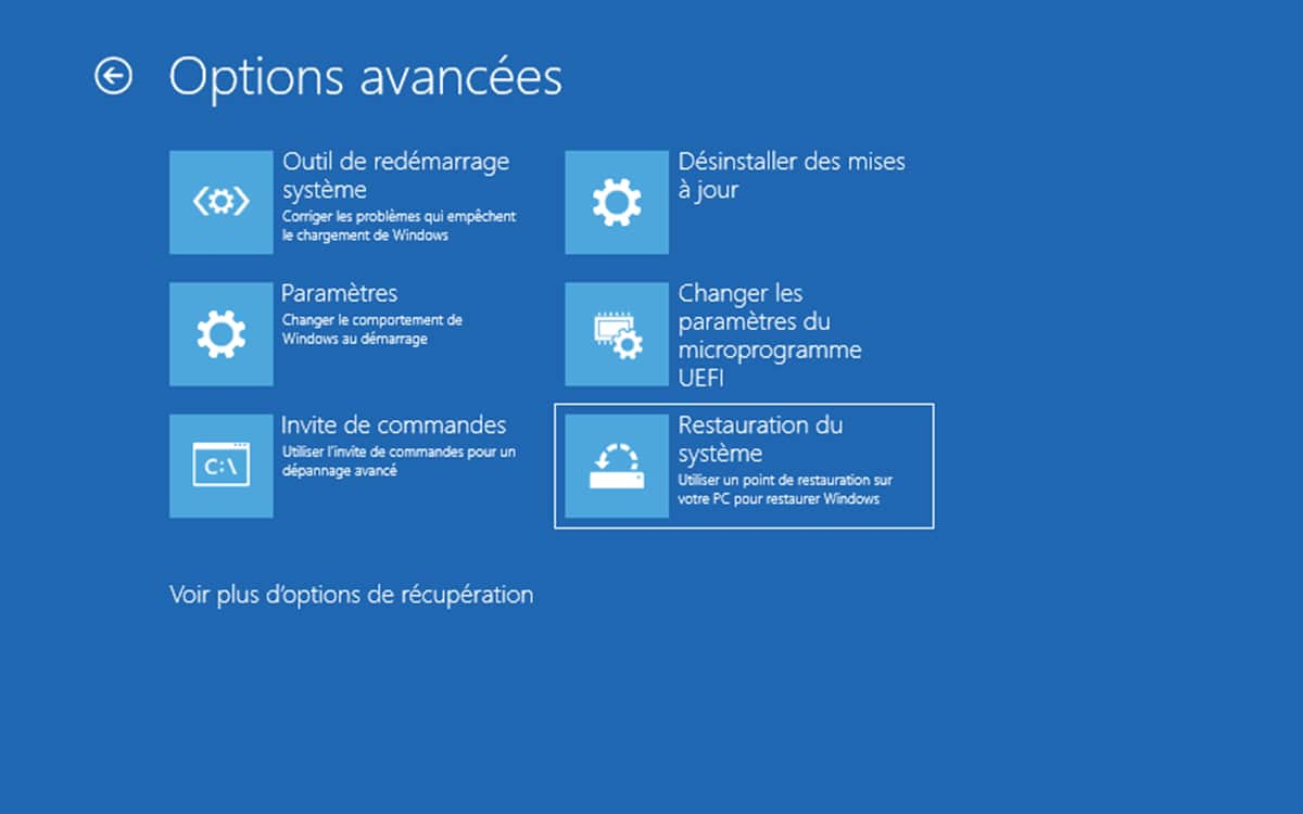 Windows 10 Point de restauration