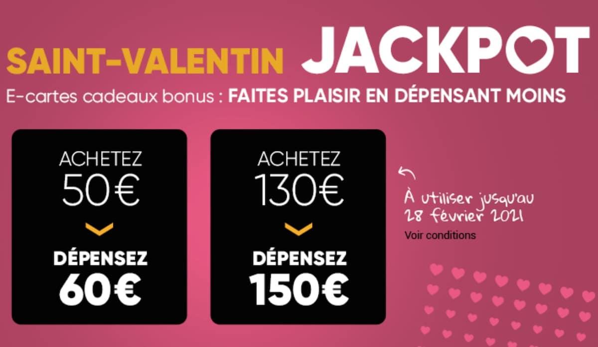 e-cartes cadeaux Jackpot Saint-Valentin