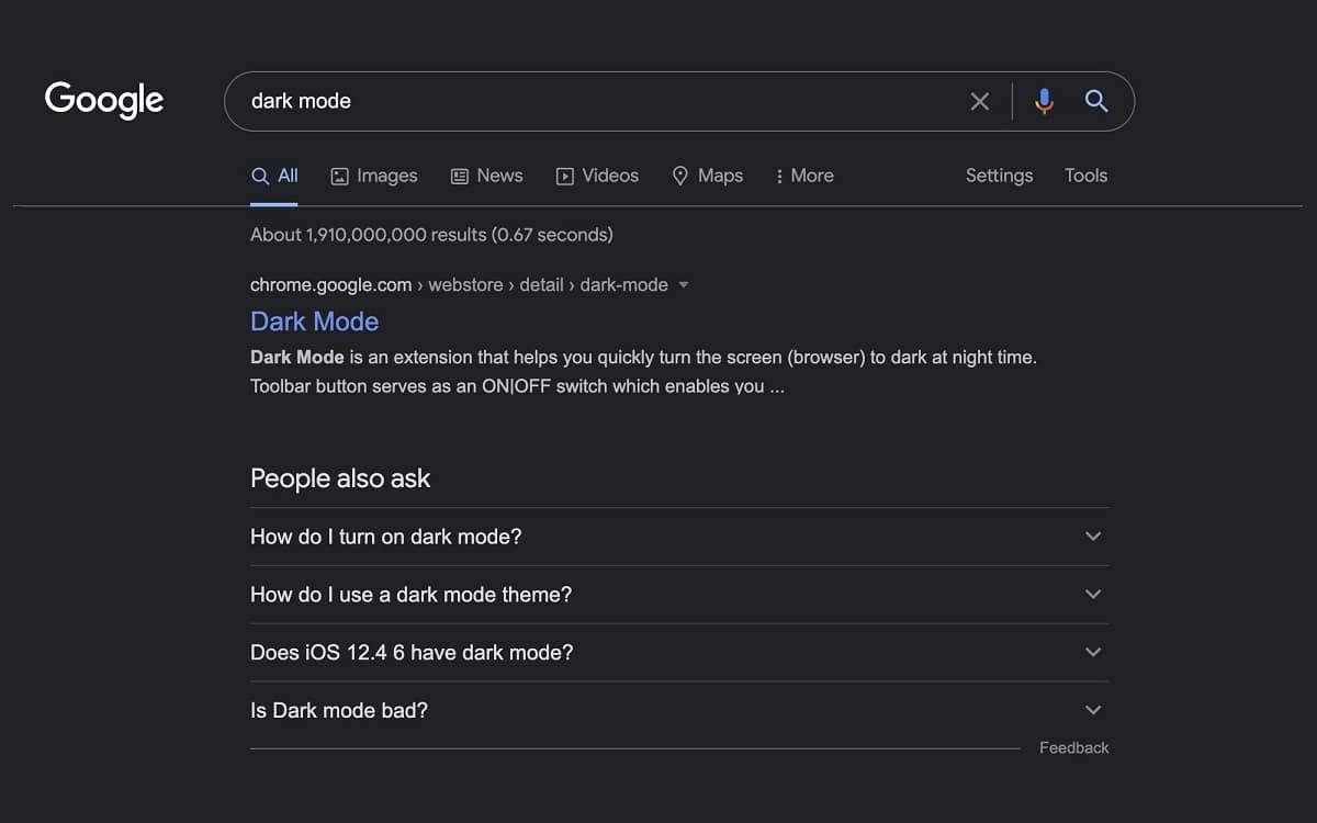 Google Search dark mode