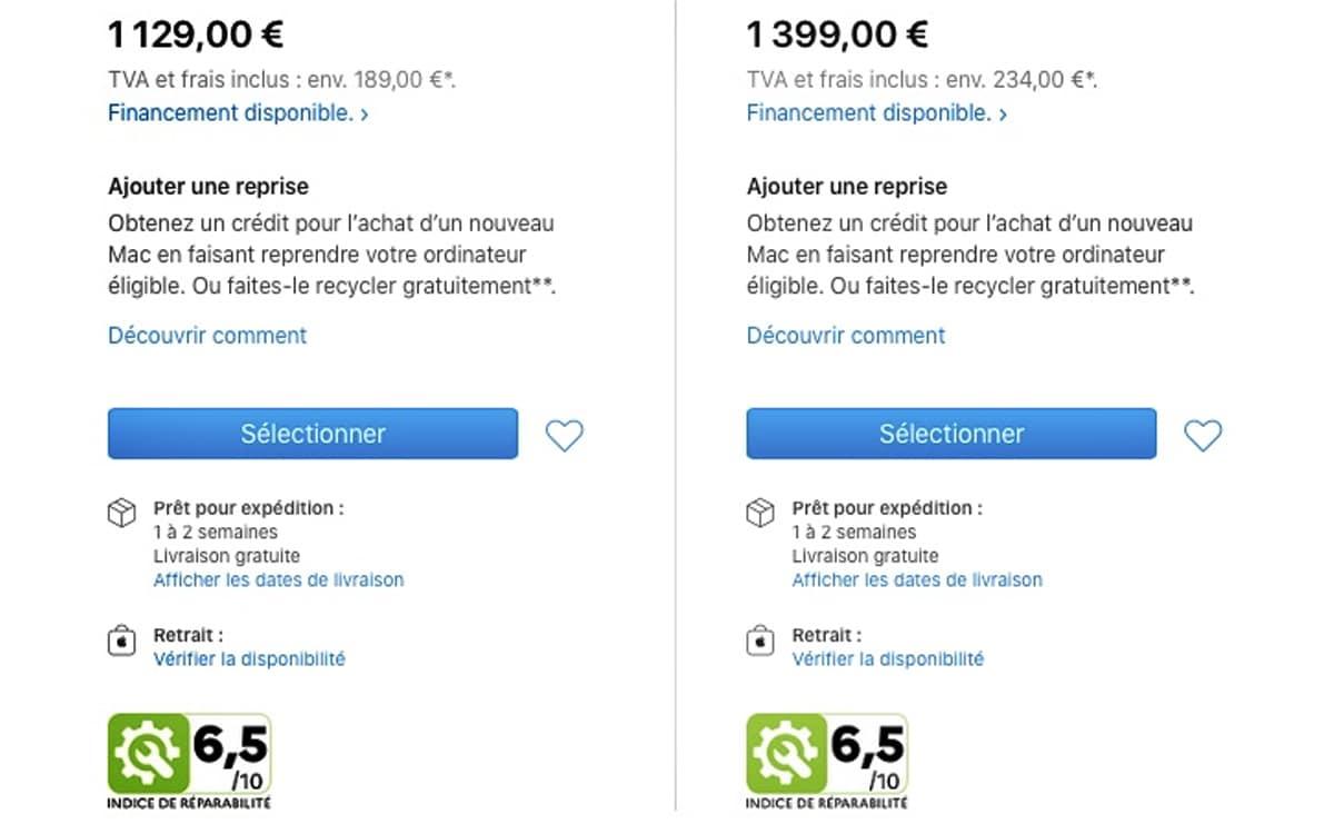indice réparabilité macbook air