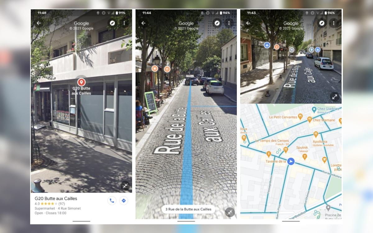Google Street View écran partagé
