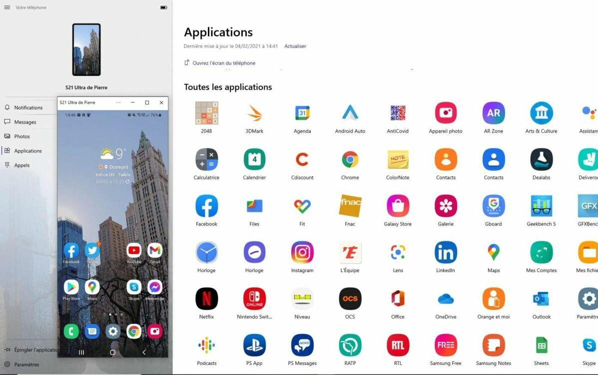 windows 10 votre telephone app