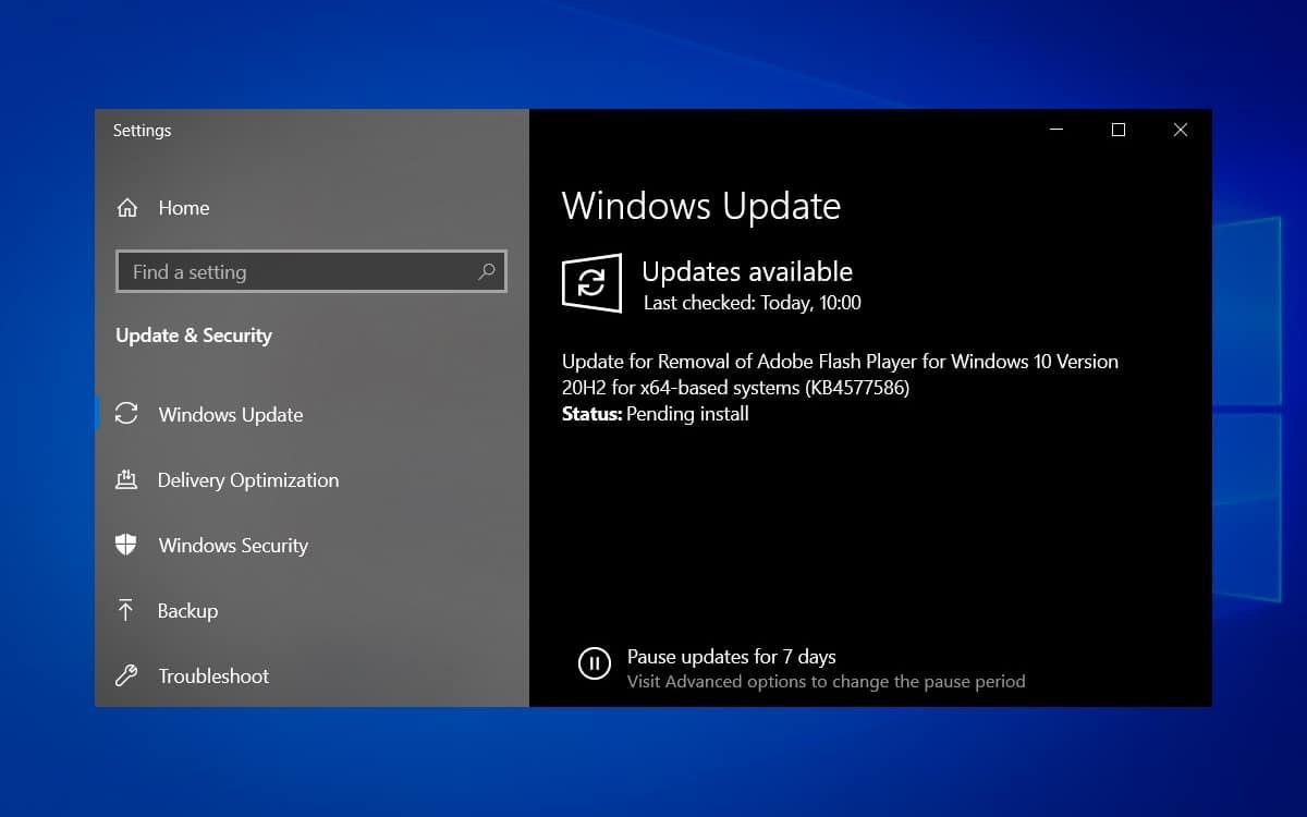 Windows 10 KB4577586 Flash Player