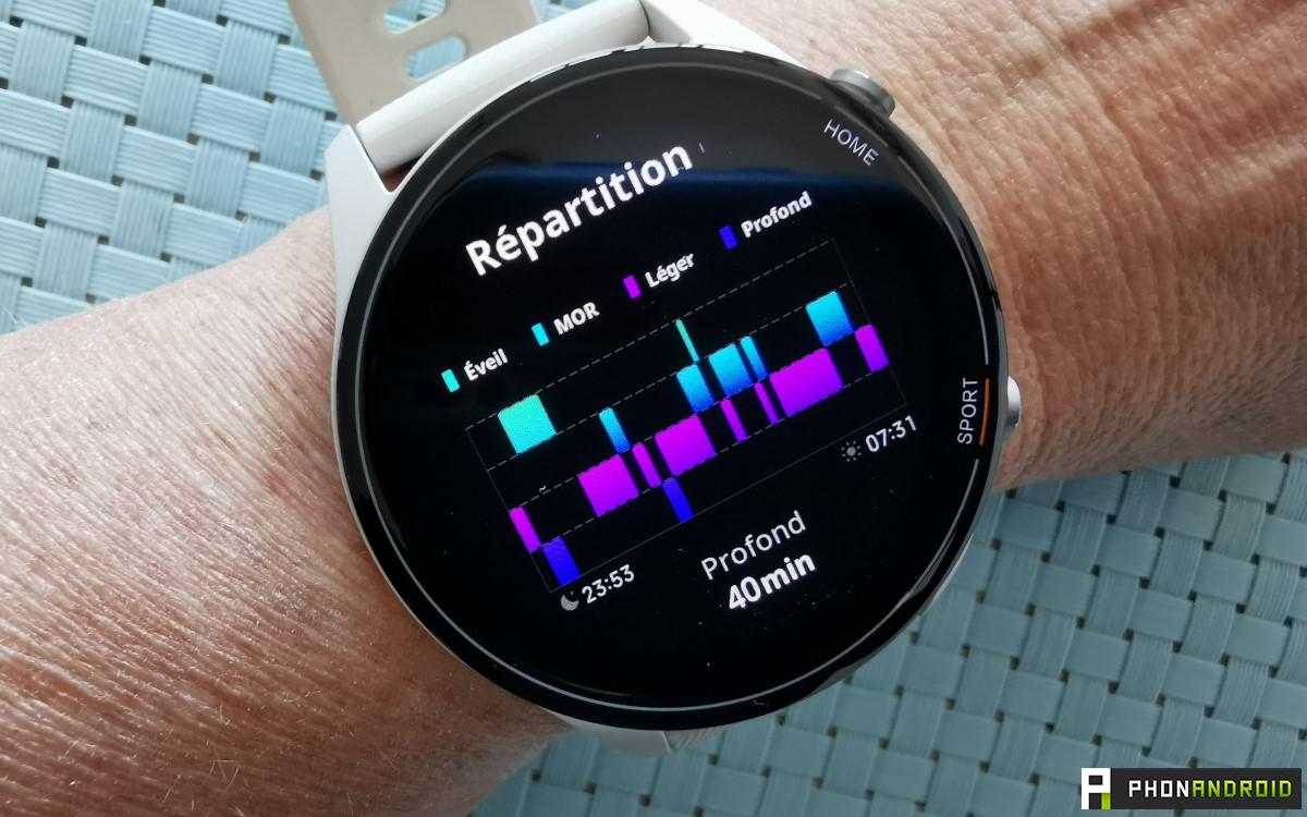 Xiaomi Mi Watch graphique sommeil detail