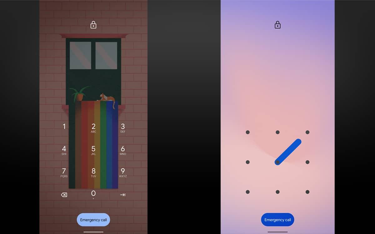 Android 12 DP2 lock screen
