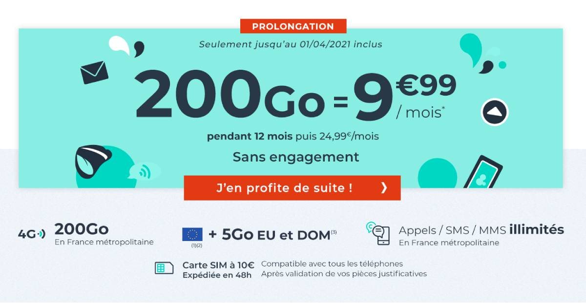 forfait Cdiscount Mobile 200 Go fin mars 2021