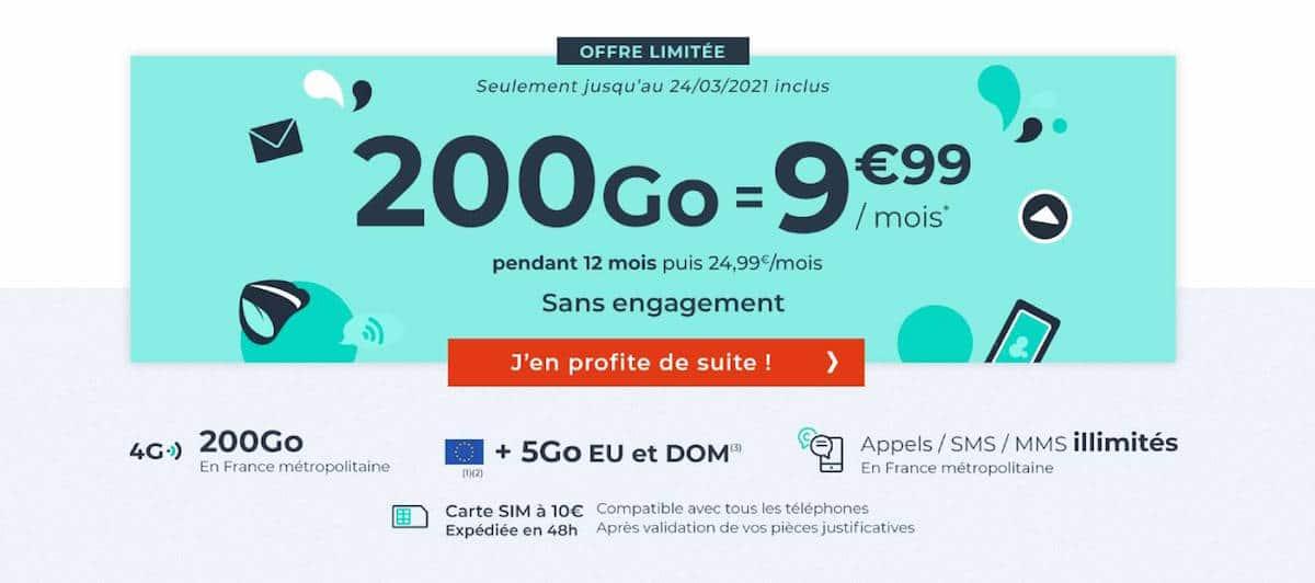 forfait Cdiscount Mobile 200 Go mars 2021