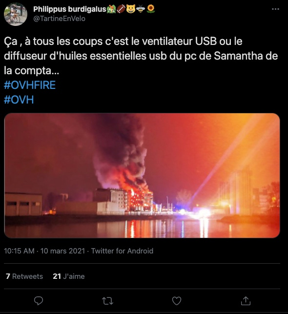 OVH Incendie accident