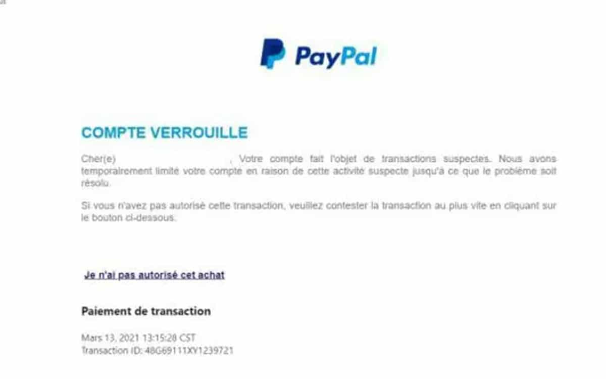 paypal attaque phishing france