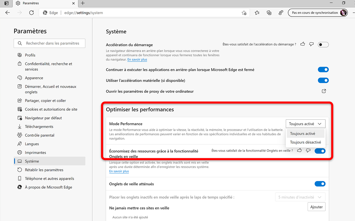 Windows 10 Microsoft Edge activer mode performance