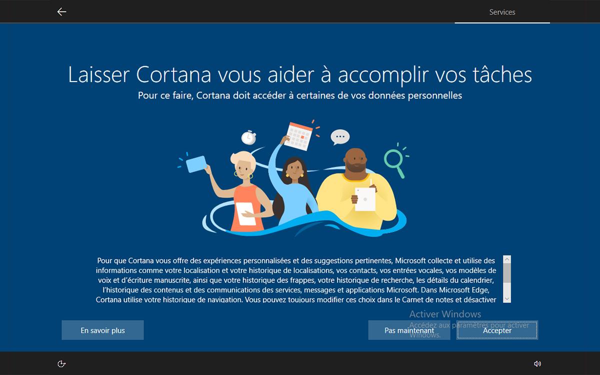 Windows 10 installation activer cortana