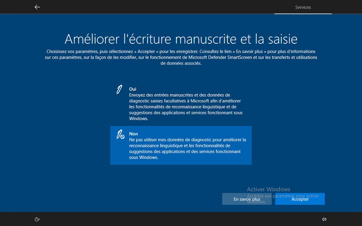 Windows 10 installation autoriser amelioration saisie