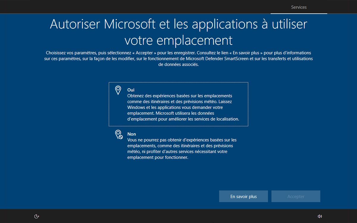 Windows 10 installation autoriser emplacement