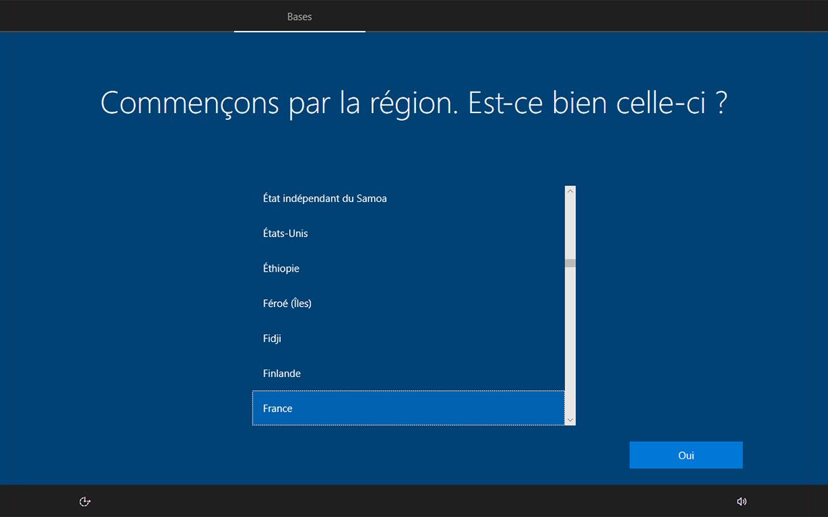 Windows 10 installation choix region