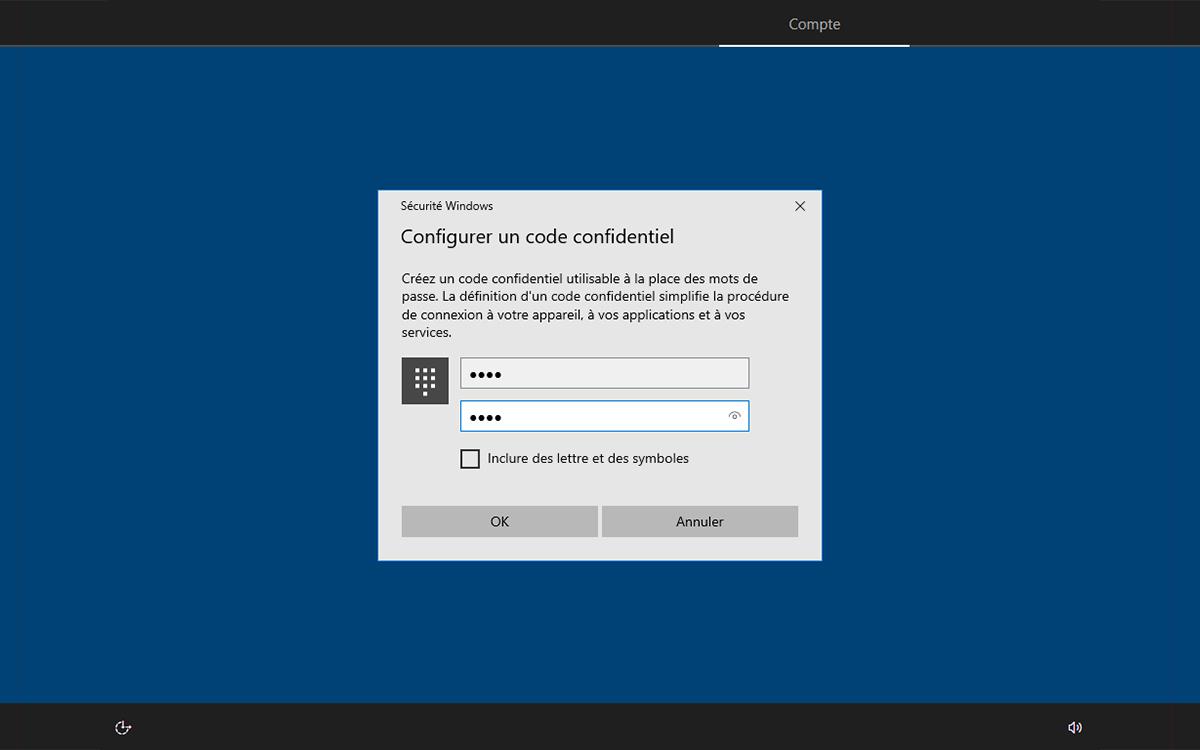 Windows 10 installation configurer code confidentiel