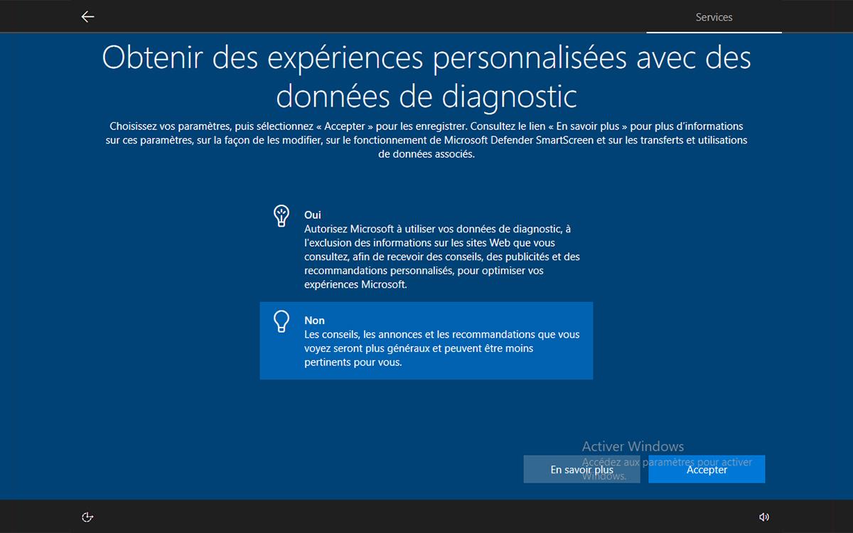 Windows 10 installation obtenir experiences personnalisees