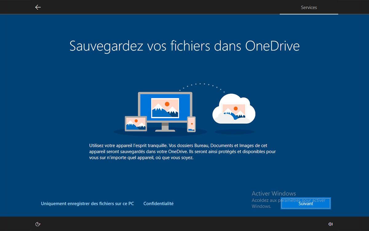 Windows 10 installation sauvegarder fichiers dans OneDrive