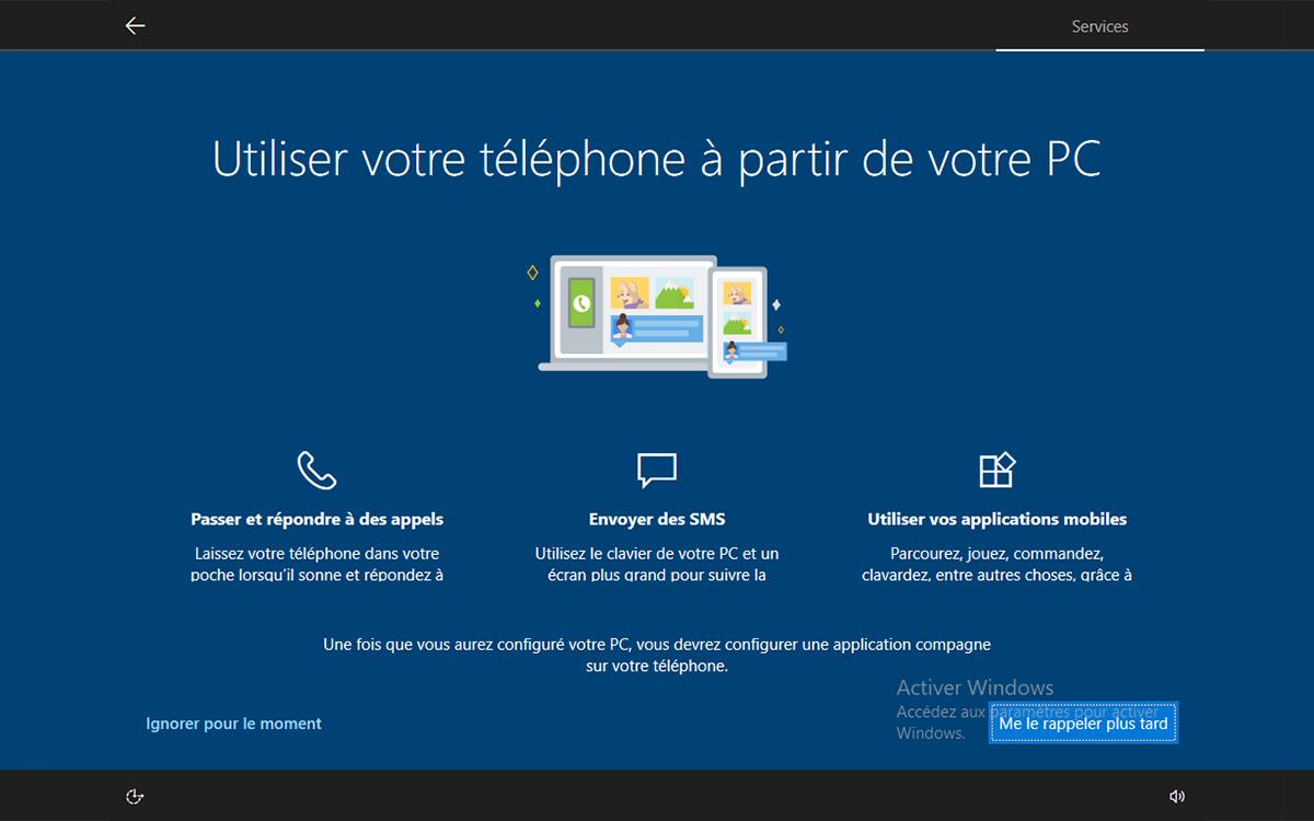 Windows 10 installation utiliser telephone a partir du PC