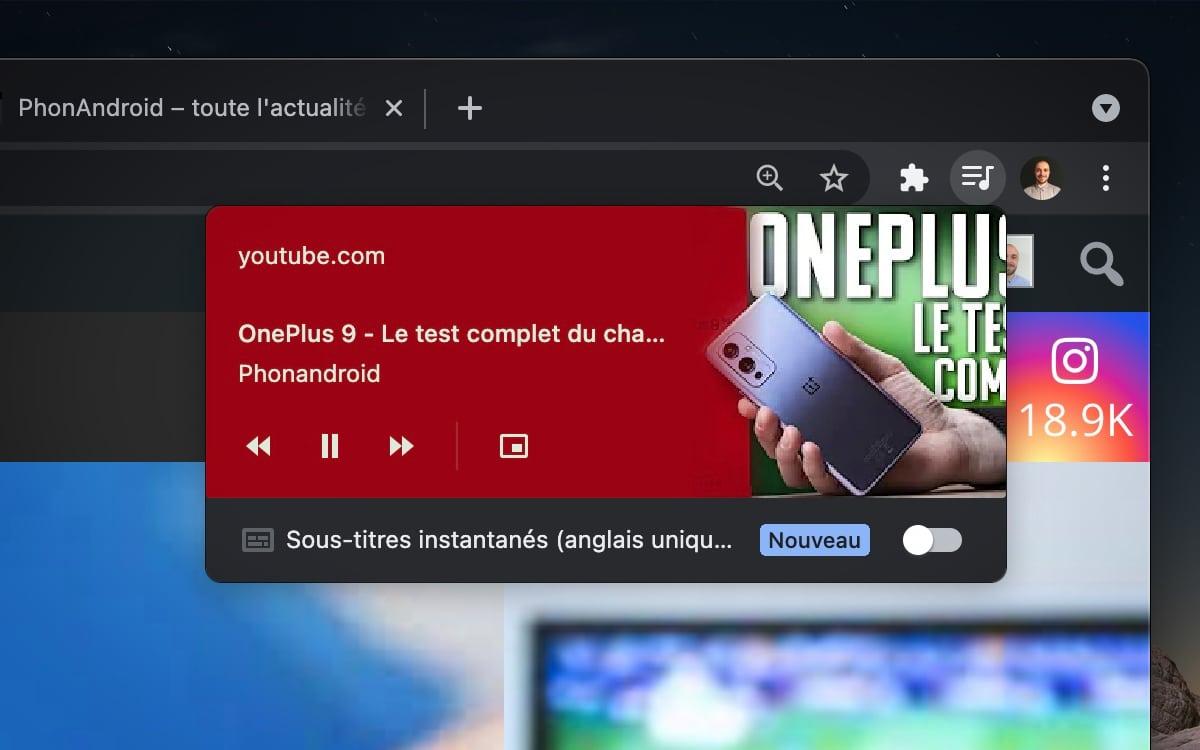 Ancien design contrôles media Google Chrome
