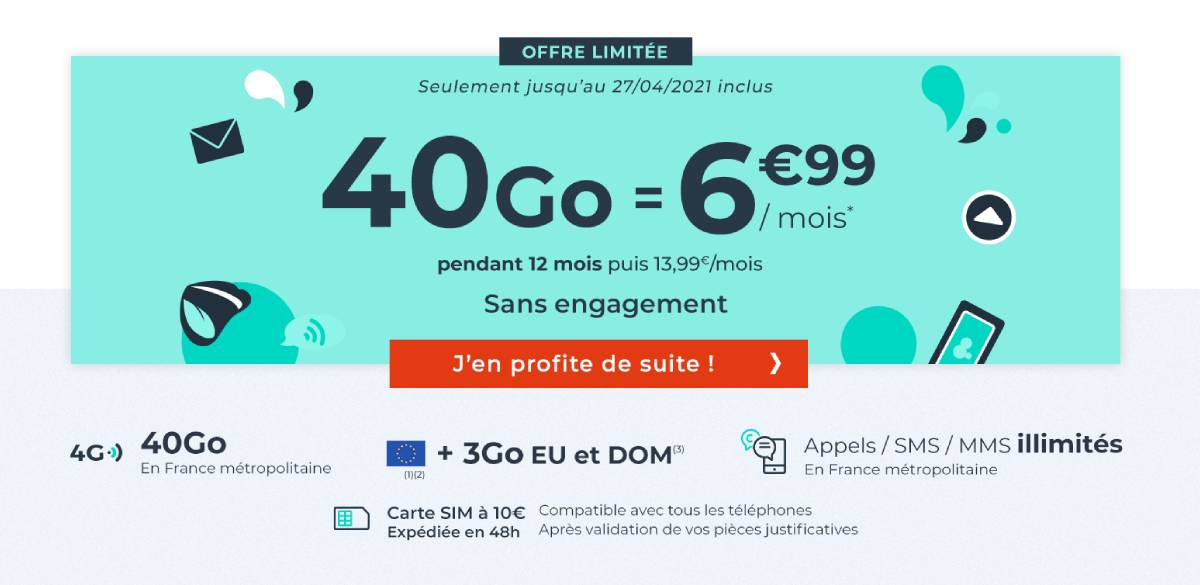 forfait Cdiscount Mobile 40 Go avril 2021