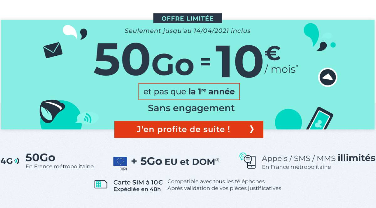 forfait Cdiscount Mobile 50 Go avril 2021