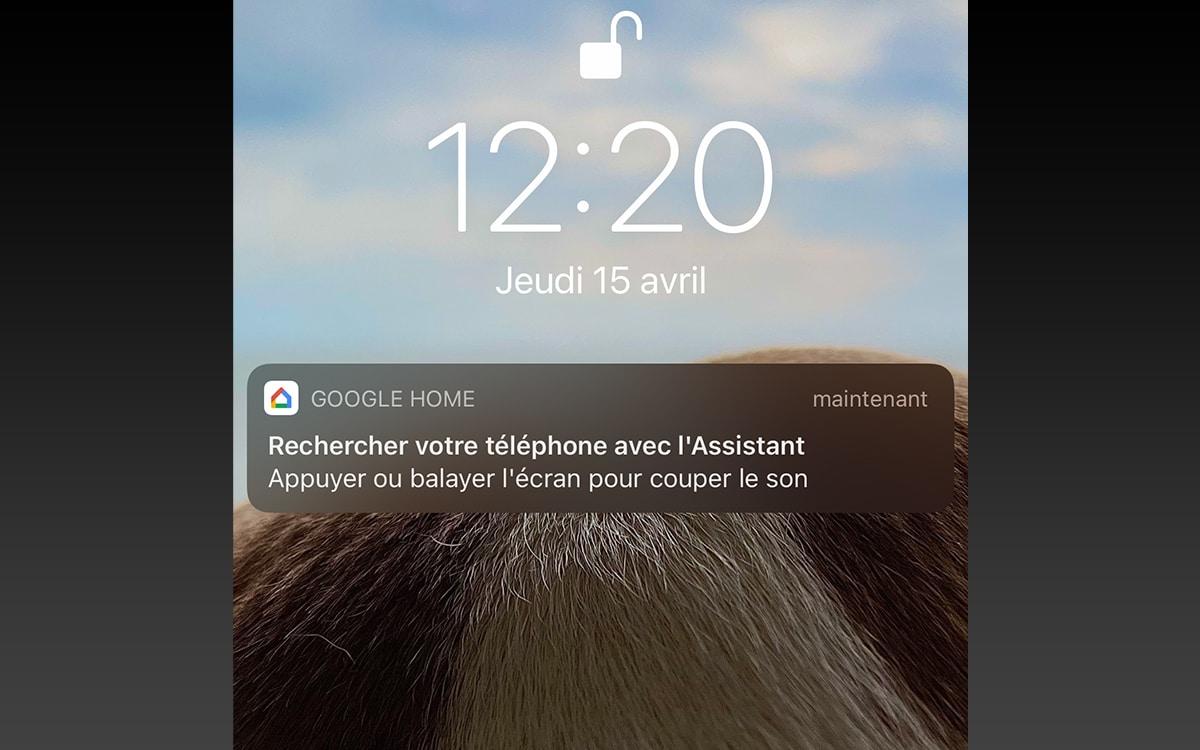 Notification Google Home sur iPhone