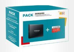 pack Samsung SSD T5 1 To carte microSD 64 Go Evo Plus