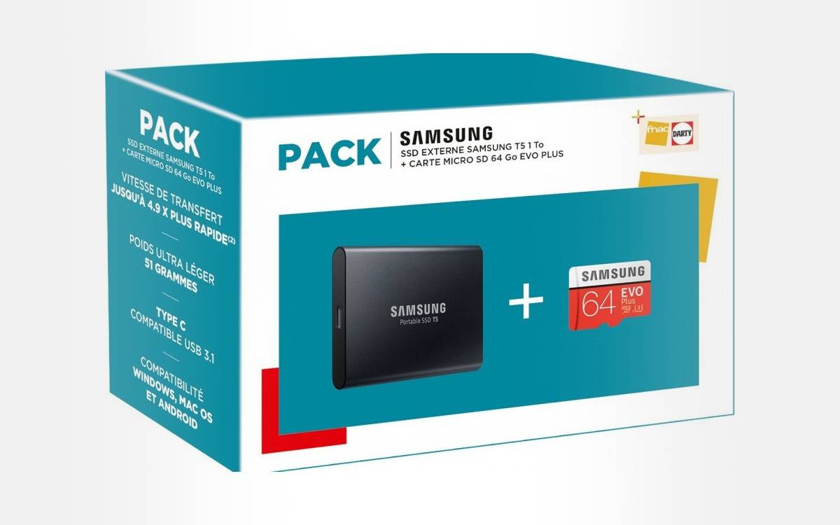 pack Fnac Samsung SSD T5 1 To avec carte microSD 64 Go Evo Plus