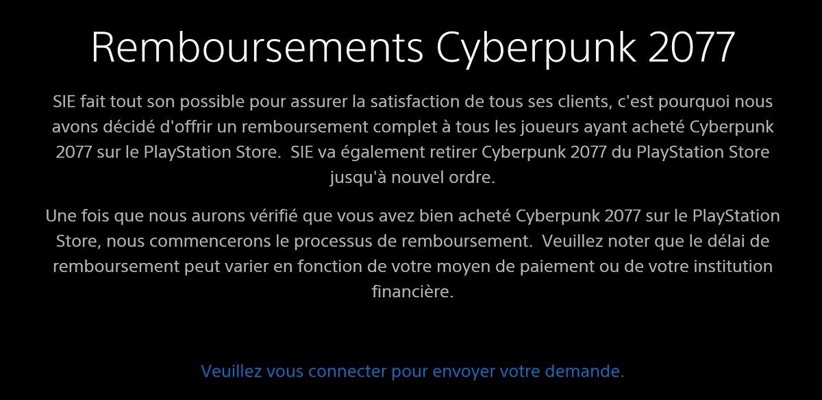 remboursement cyberpunk 2077