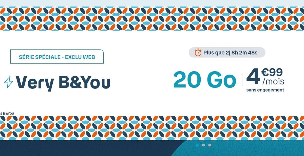 Forfait mobile B&You 20 Go pas cher