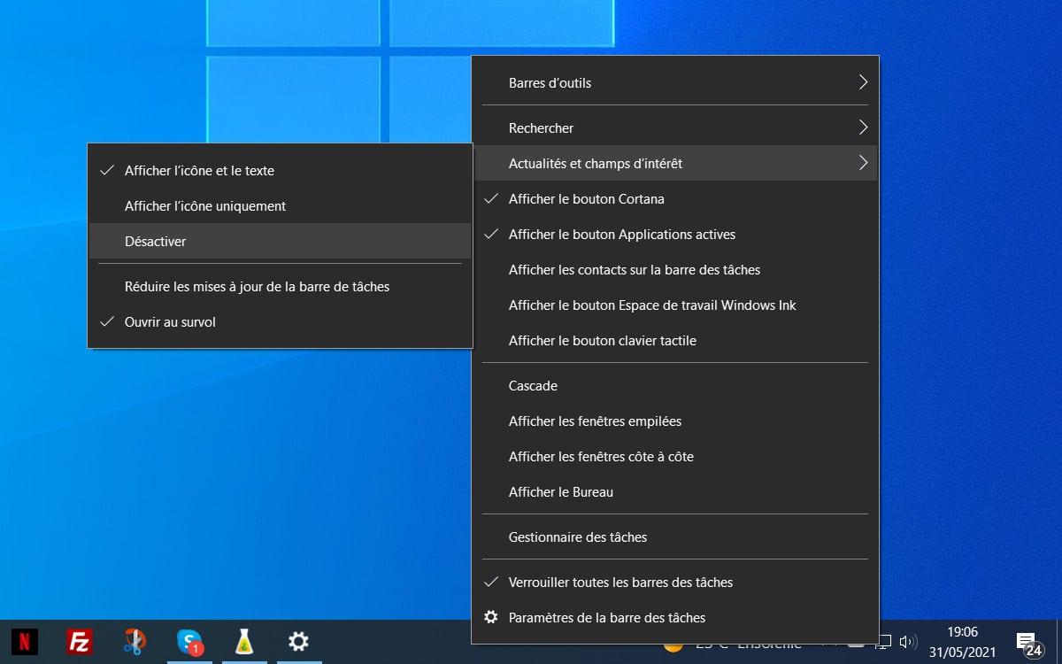 Windows 10 deshabilita noticias y campos de interés