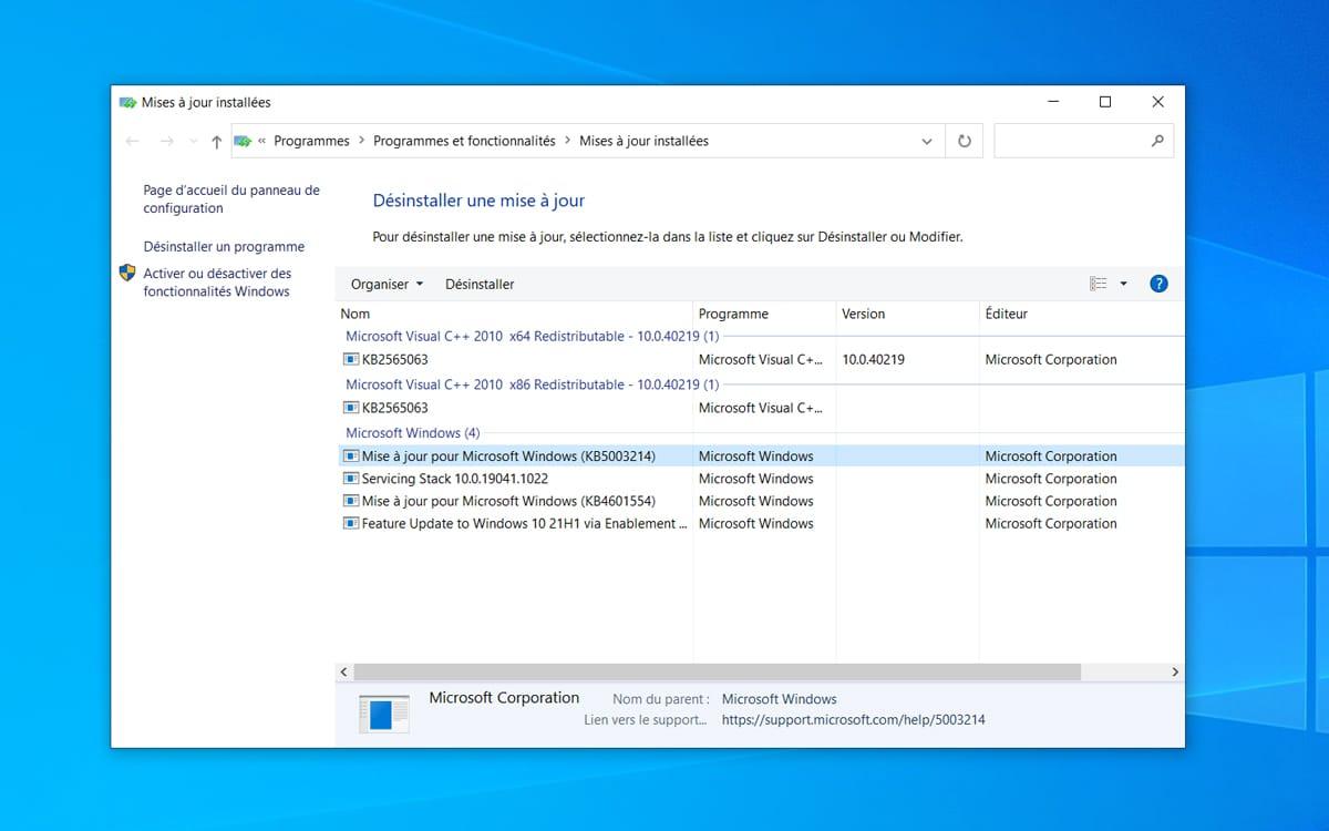 Actualización de desinstalación de Windows 10