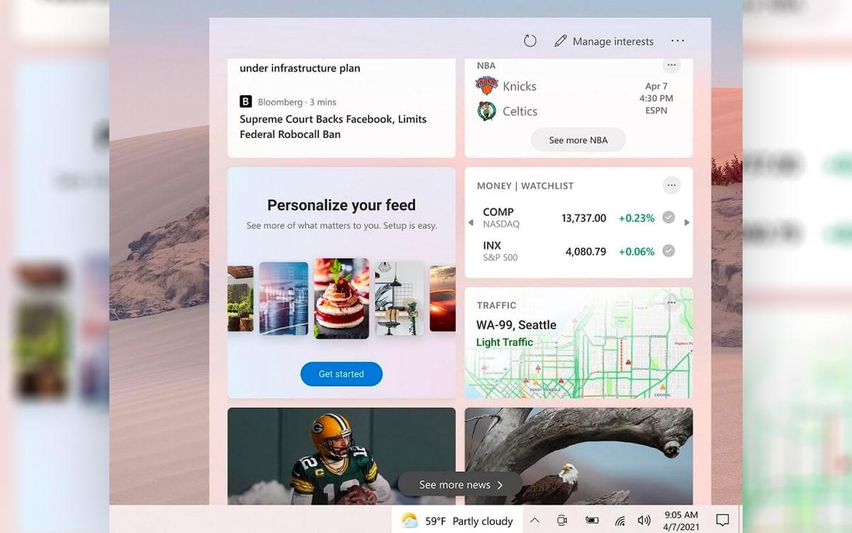 Windows 10 actualités barre des tâches