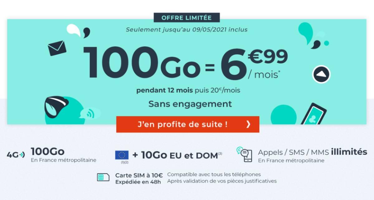 forfait Cdiscount Mobile 100 Go mai 2021