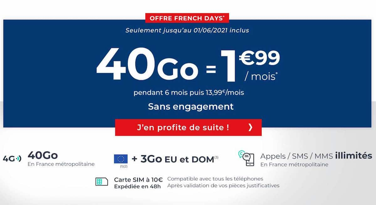 40 GB Cdiscount Mobile package for French Days 2021