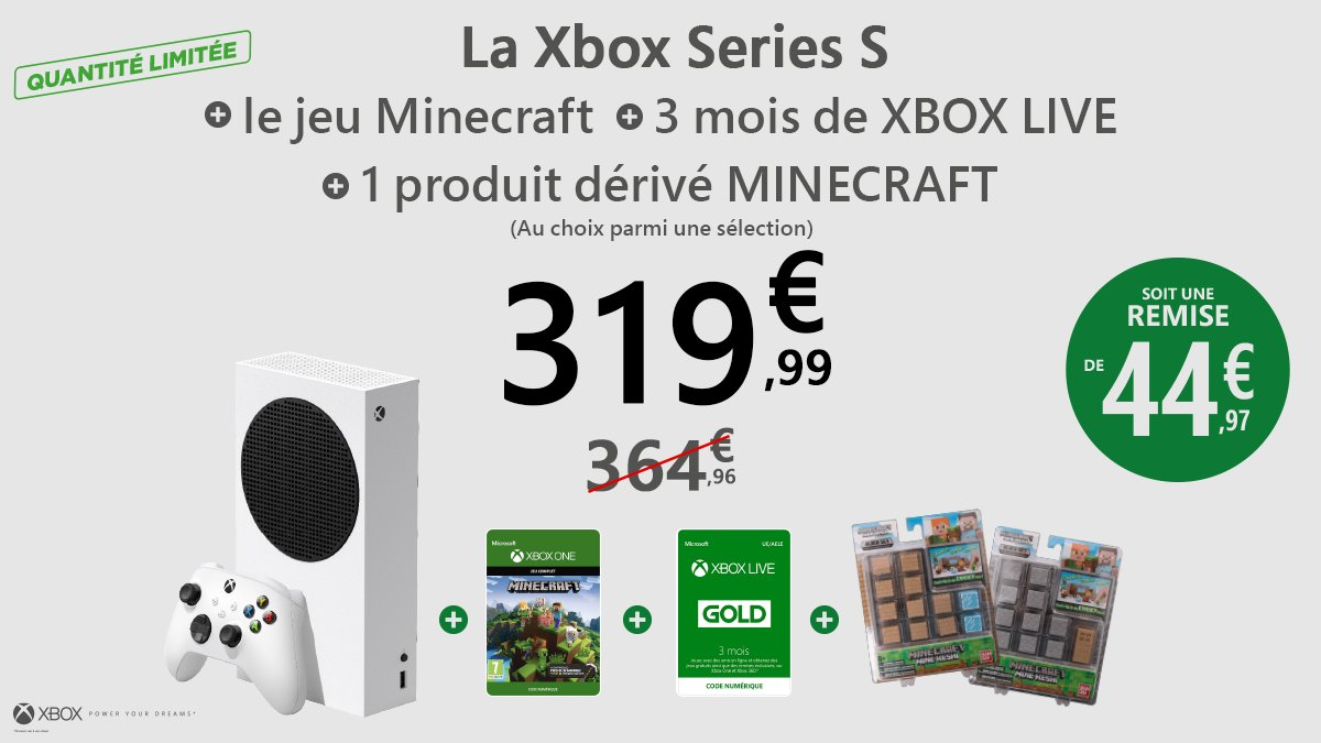 pack Xbox Series S avec Minecraft chez Micromania