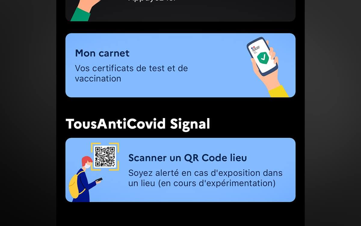 TousAntiCovid QR Code digital reminder notebook