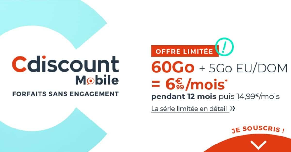 Forfait Cdiscount mobile - Cdiscount dégaine une offre 60 Go à 6,99 €