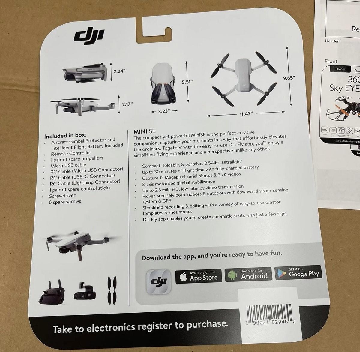 Packaging DJI Mini SE