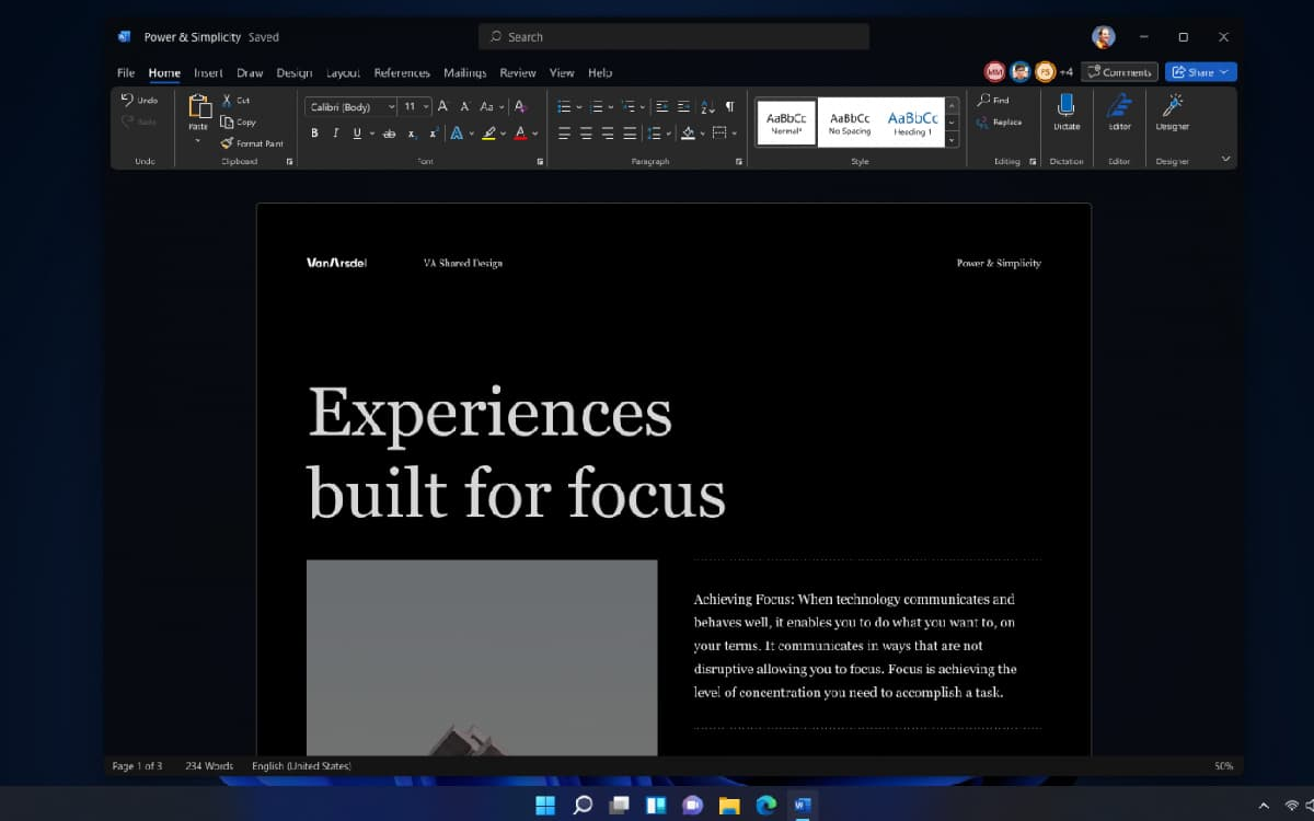 Windows 11 Office mode sombre