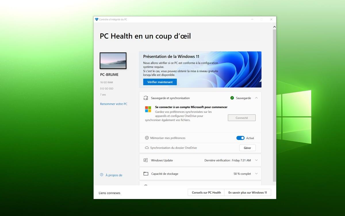 Windows 11 verifier materiel compatible