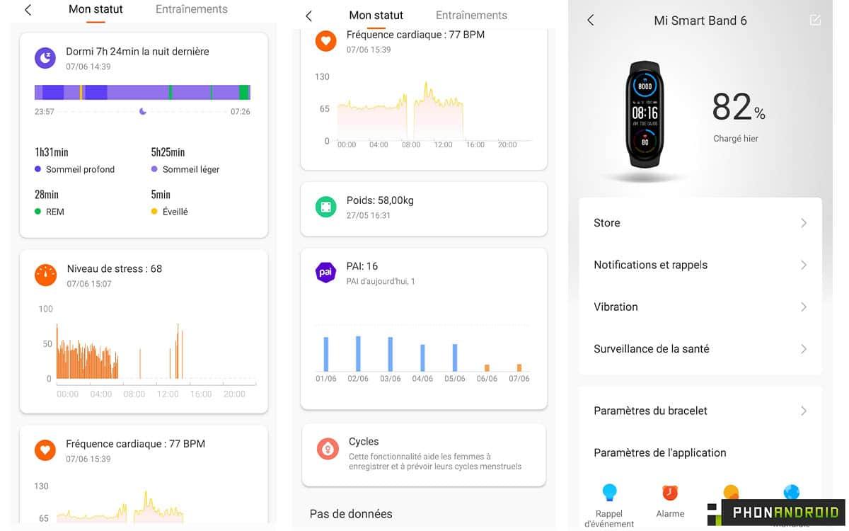 Xiaomi Mi Smart Band 6 captures various
